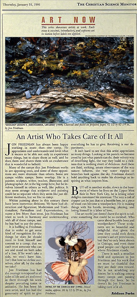 Christian Science Monitor, Art Now Review, January 31 1991