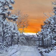 2417 Snowy Sunset, Stephen's Way (oil sketch)