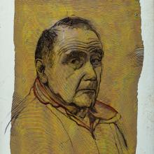 2395 Self-Portrait on Recycled Ribbon Painting
