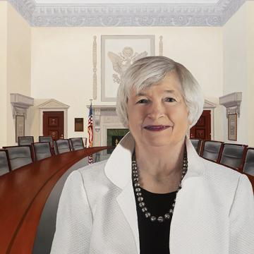 Janet Yellen, First female Chair of the Board of Governors of the Federal Reserve System 2014-2018.